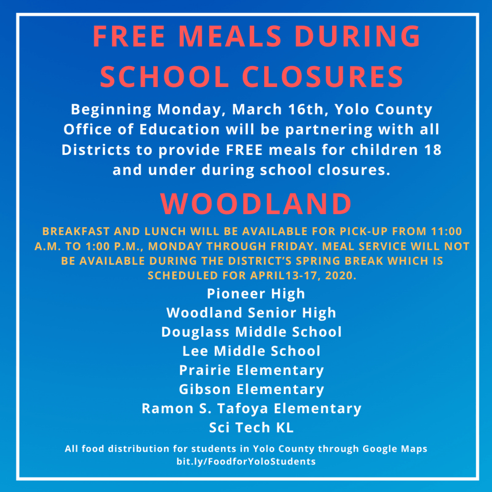 Woodland Free lunches for students